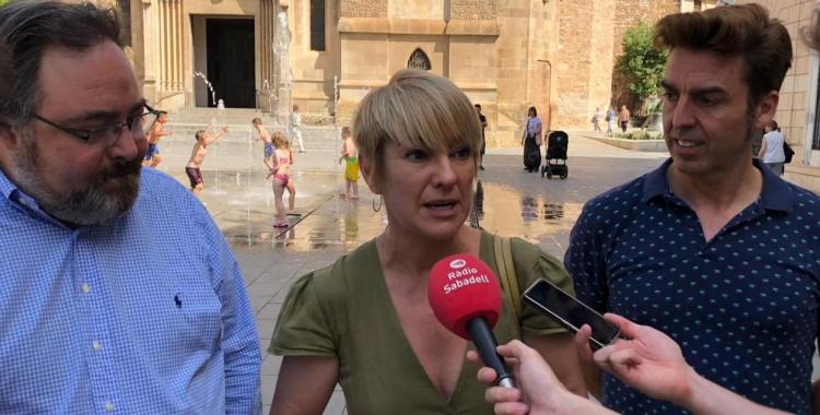 El grup de Junts per Sabadell durant la roda de premsa   Cedida