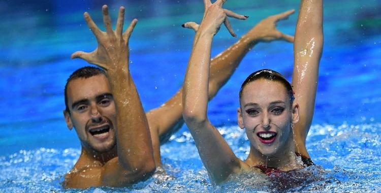Ribes i Garcia, durant la final del duet mixt lliure | AFP