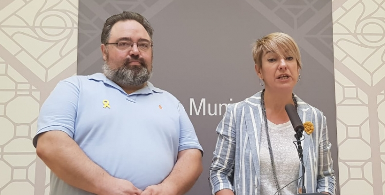 Francesc Xavier Baró i Lourdes Ciuró durant la roda de premsa d'aquest matí | Ràdio Sabadell