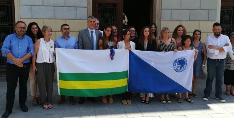 Ona Carbonell i Emma Garcia han tingut una càlida rebuda institucional a l'Ajuntament. | Sergi Park