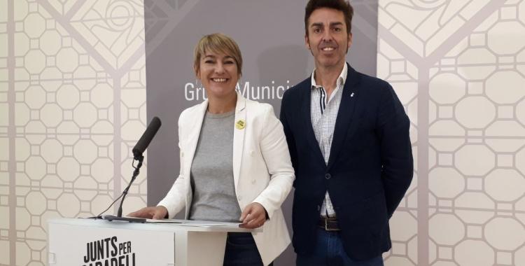 Lourdes Ciuró i Quim Carné, en roda de premsa/ Karen Madrid