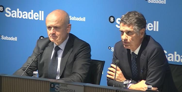 El director general de Banc Sabadell, Tomás Varela, i el conseller delegat, Jaume Guardiola   Cedida