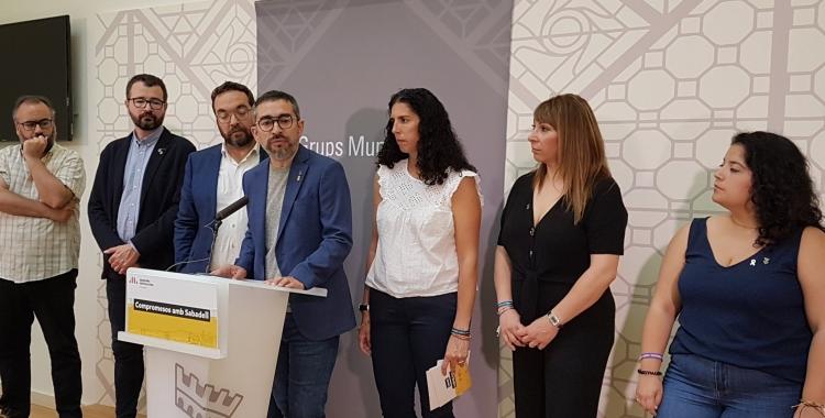 Els regidors d'Esquerra, en roda de premsa/ ERC