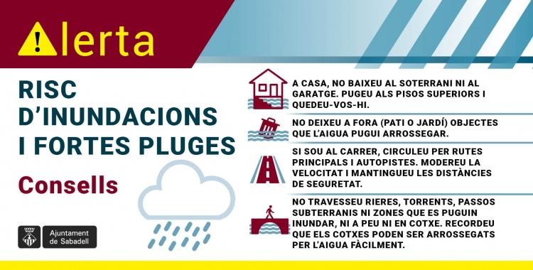 Infografia davant del risc d'inundacions i fortes pluges | Ajuntament de Sabadell