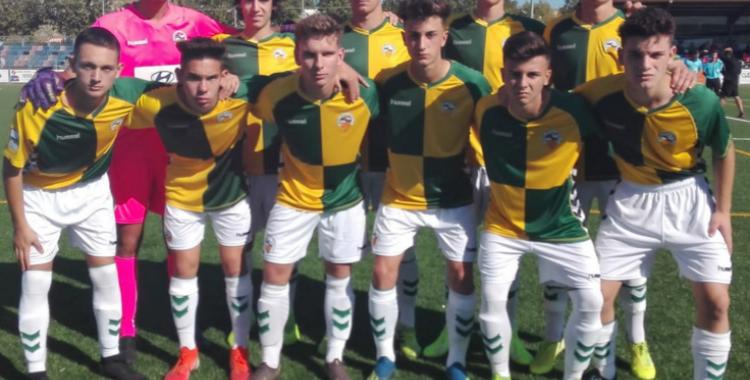 L'onze inicial del juvenil del Sabadell en la seva visita a Llagostera | Futbol Base CES