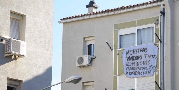 Pancarta reivindicativa dels Merinals/ Roger Benet