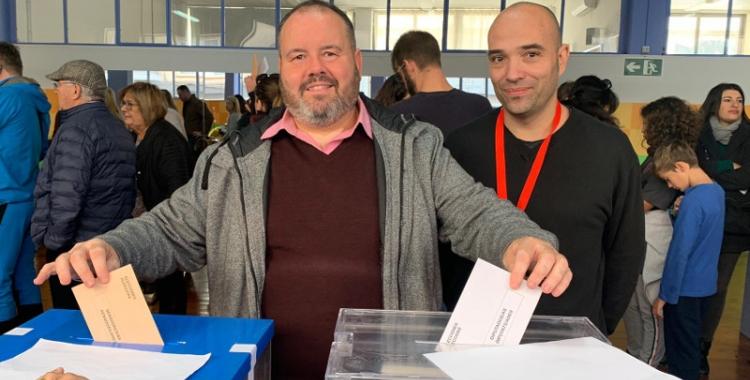 Berlanga (a la dreta) amb Joan Mena, durant les eleccions/ Roger Benet