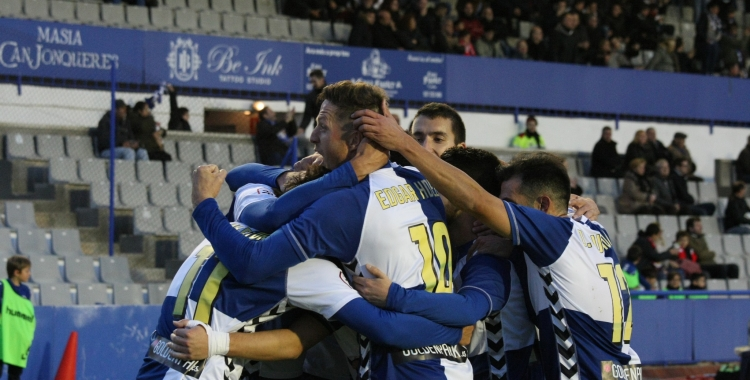 Els jugadors arlequinats celebren un dels últims gols a l'estadi   Sendy Dihör