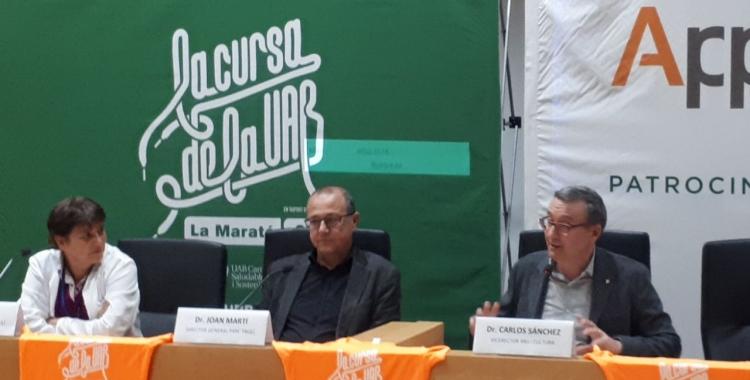 Pepi Rivera, Joan Martí i Carlos Sánchez, durant la presentació de la cursa/ Karen Madrid