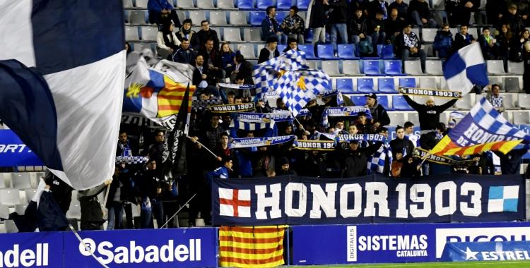 Imatge del Gol Nord dissabte passat contra el Lleida Esportiu | Críspulo Díaz