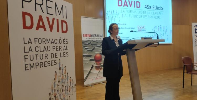 La presidenta del Centre Metal·lúrgic de Sabadell i comarca, Alícia Bosch, al lliurament dels premis | Pau Duran