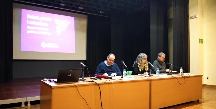 Joan Mena, Marta Salido i Sergi Calvo a l'acte   Helena Molist
