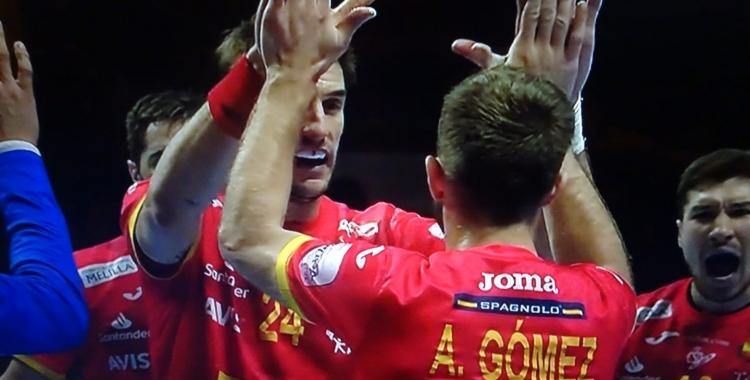 Aleix Gómez celebrant un gol en la semifinal contra Eslovènia | Teledeporte