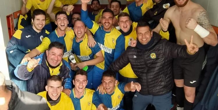 Celebració de l'equip de Quico Díaz al vestidor | @SabadellNord