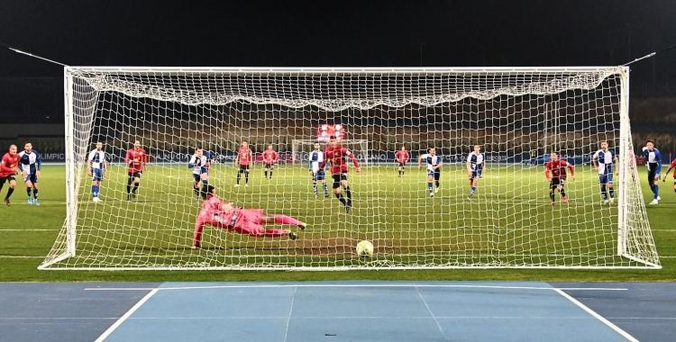 Imatge del gol que va donar els tres punts als nuciers | CF La Nucía