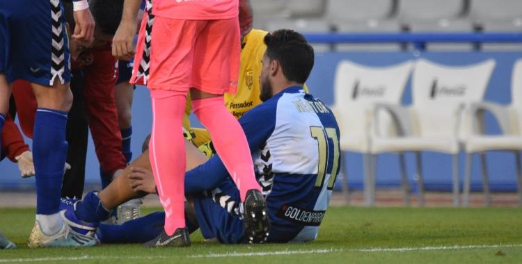 Querol, en el moment de la lesió   Críspulo Díaz