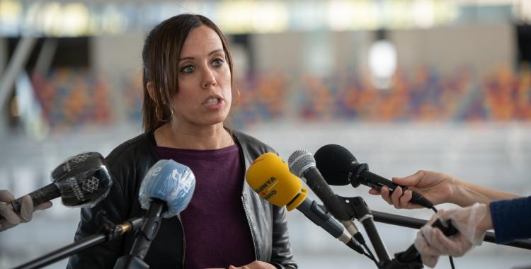 Marta Farrés durant una roda de premsa   Roger Benet