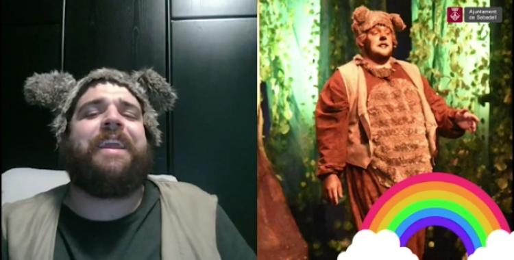 Un instant de la felicitació protagonitzada pel Baloo (Llorenç Costa) del Teatre Sant Vicenç