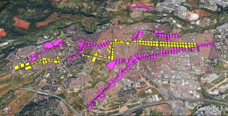 En groc, els nous eixos cívics i en lila els actuals eixos comercials de Sabadell | Junts per Sabadell