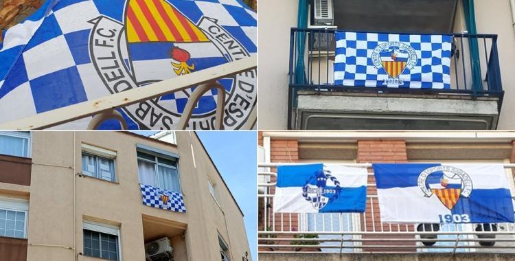Els aficionats arlequinats ja han començat a penjar les primeres banderes als balcons   @diegosabadell