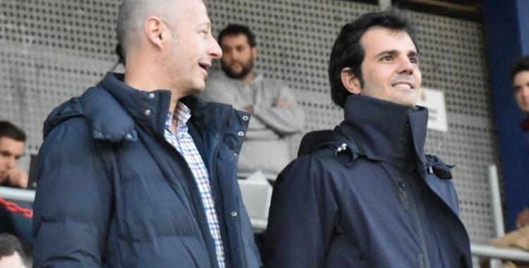 Calzada i Batlle, en el darrer partit de lliga jugat a Sant Adrià | Críspulo Díaz