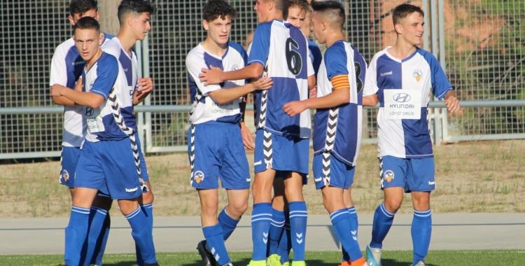 El Sabadell juvenil celebrant un gol a Olímpia aquesta temporada | Adrián Arroyo