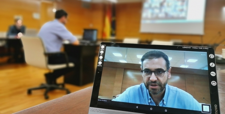 Ignasi Giménez, president del Consell Comarcal, durant el Consell d'Alcaldies/  Consell Comarcal