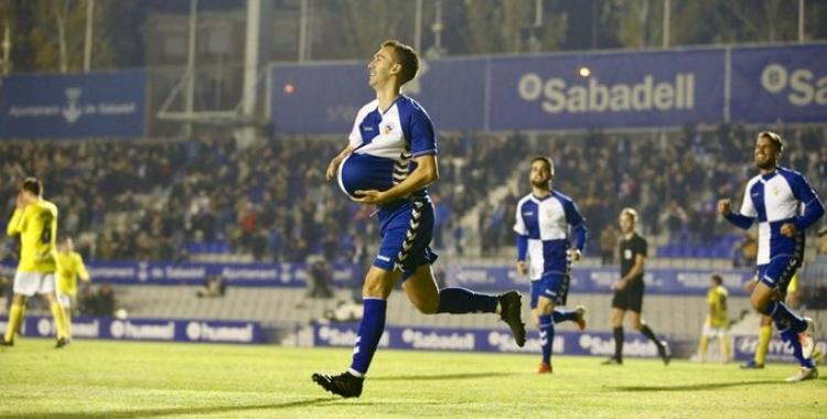 Imatge del gol amb dedicatòria de 'Lanza' contra l'Ejea   Arxiu RS