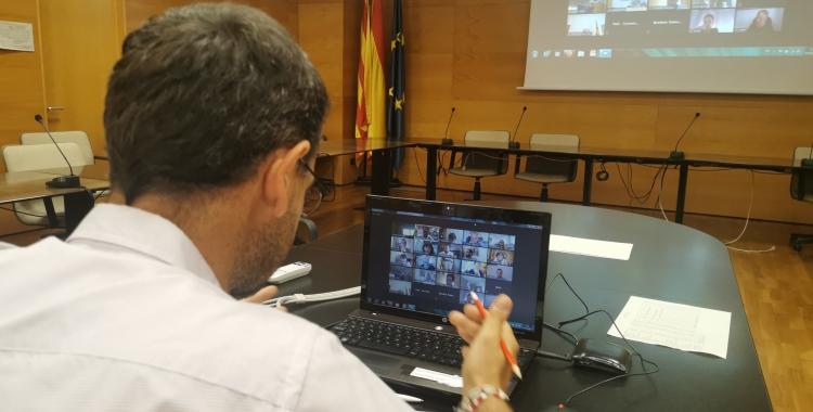 El president del Consell, Ignasi Gimenez, durant la roda de premsa | Cedida
