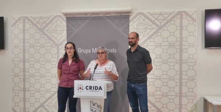 Anna Lara, Nani Valero i Maties Serracant, en roda de premsa | Ràdio Sabadell