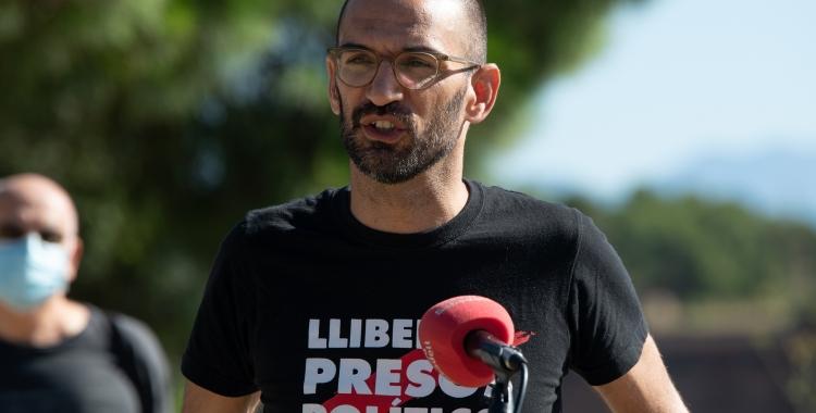 Maties Serracant, exalcalde de Sabadell, durant la roda de premsa   Roger Benet