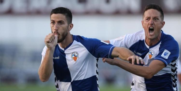 Aleix i Édgar, celebrant el gol contra el Barça 'B'   CE Sabadell