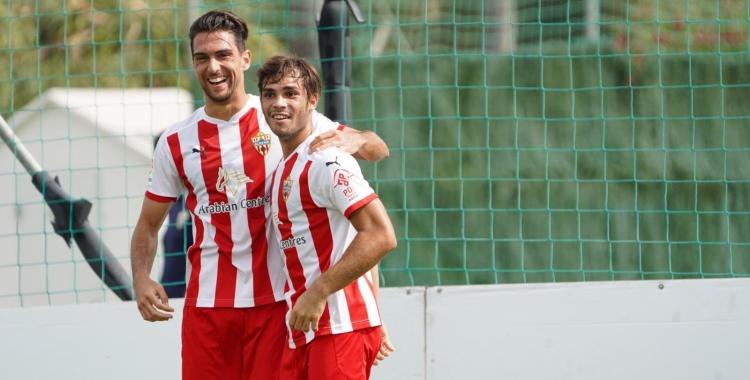 Ibiza (esquerre), celebrant el gol marcat contra la Balona fa pocs dies | UD Almería