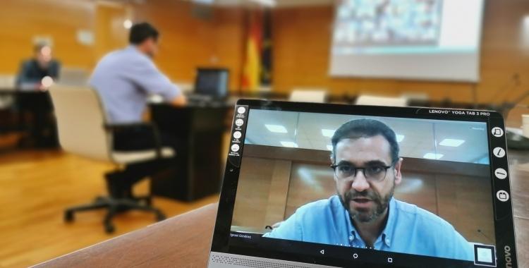 El president del Consell Comarcal, Ignasi Giménez, durant la presentació del Pla de xoc   Cedida