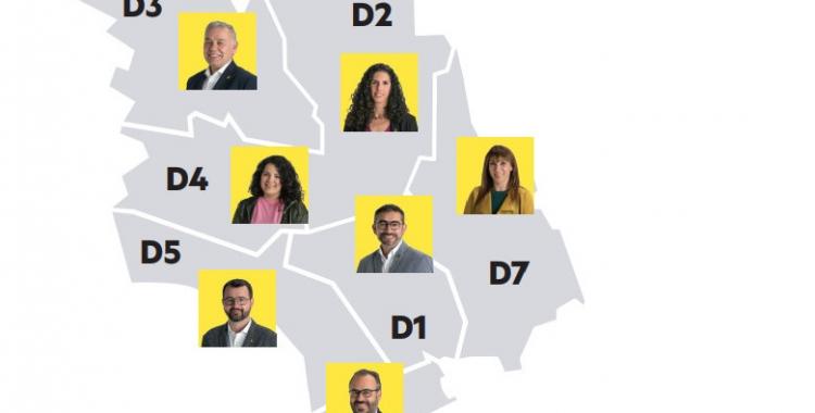 Repartiment dels regidors d'Esquerra als districtes de Sabadell/ ERC