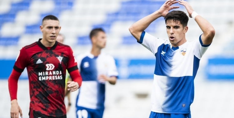Víctor Garcia es lamenta en una acció de l'últim partit a casa   CE Sabadell