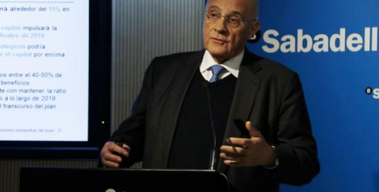 El president del BS, Josep Oliu, en una roda de premsa el 2019 | ACN