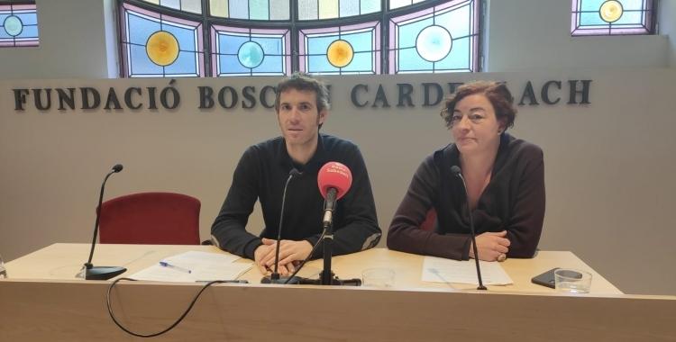 Isabel Vega (a la dreta de la imatge) durant un acte de la Bosch i Cardellach | Cedida