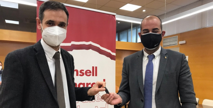 El president del Consell Comarcal, Ignasi Giménez, i el diputat d'Acció Climàtica, Xesco Gomar   Cedida
