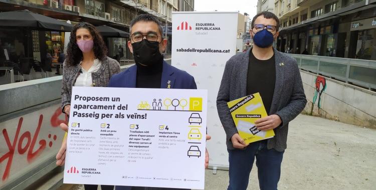 ERC ha presentat la seva proposta a l'entrada de l'aparcament| Cedida