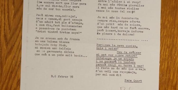 El text de la poesia desconeguda de Joan Oliver |ACN