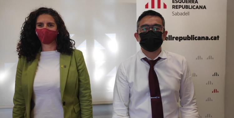 Els regidors d'ERC Èlia Soriano-Costa i Gabriel Fernández   Pau Duran
