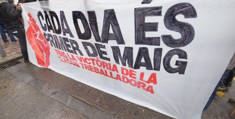 Una pancarta d'un 1 de Maig anterior a la pandèmia/ Arxiu Ràdio Sabadell