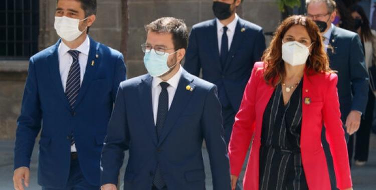 Pere Aragonès, amb alguns dels nous consellers del seu executiu/ ACN