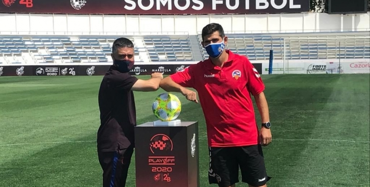 Garcia Pimienta i Hidalgo, abans de la final del 'playoff' a Marbella   Adrián Arroyo