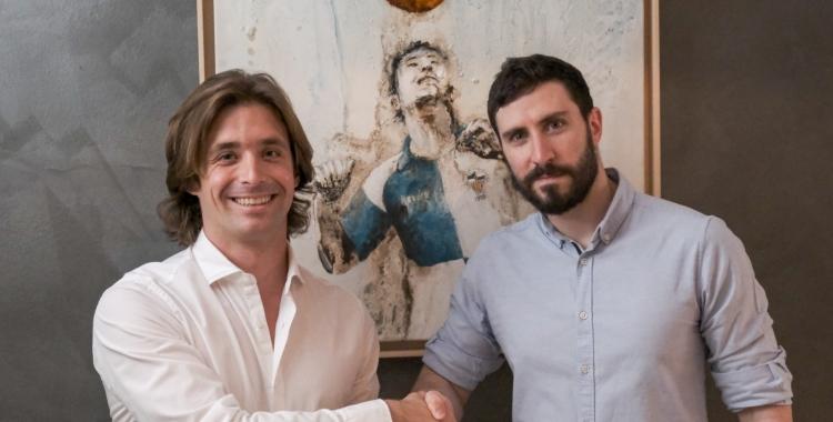 El navarrès Miguel de Hita, nou secretari tècnic arlequinat (dreta), juntament amb el director esportiu Jose Manzanera | CE Sabadell
