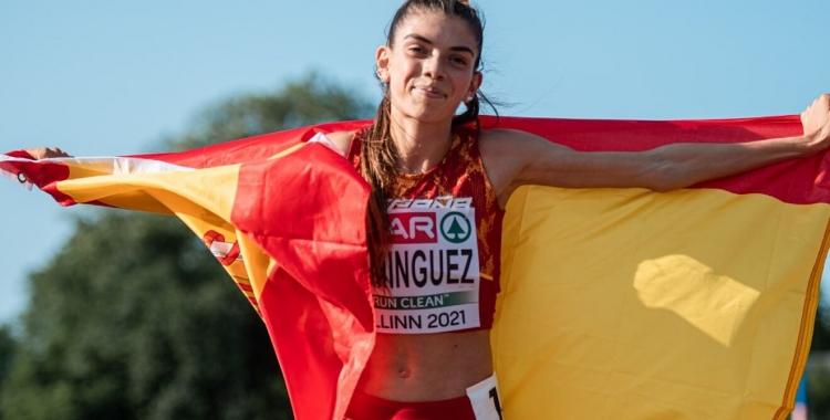 Domínguez, després de guanyar l'or a Tallinn | Cedida