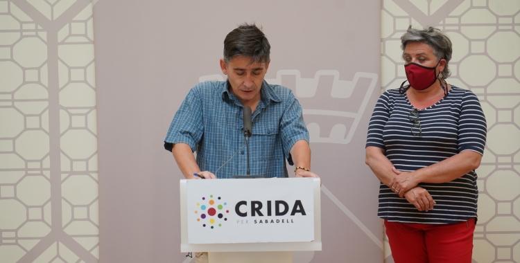Lluís Perarnau i Nani Valero durant la roda de premsa d'avui   Cedida