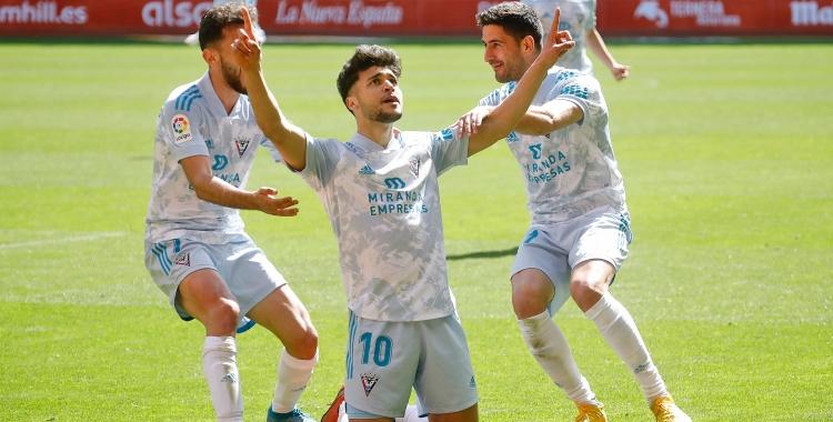 Moha, celebrant un gol amb el Mirandés | @CDMirandes