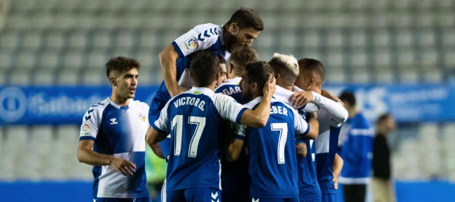 Imatge de la celebració arlequinada després del gol | CE Sabadell